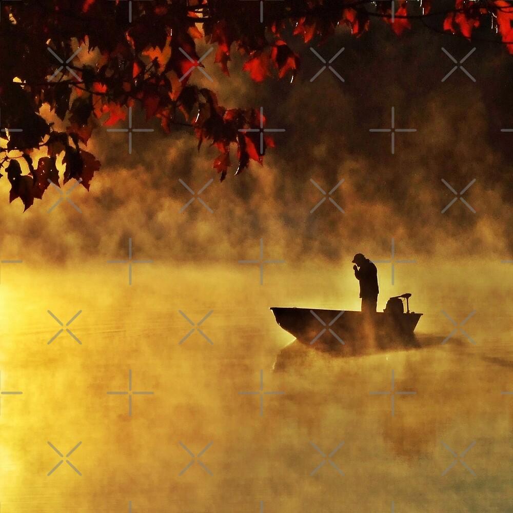 Man In Boat On Pratt Pond by BavosiPhotoArt
