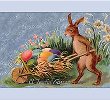 Easter Card-Bunny Pushing Cart by Yesteryears
