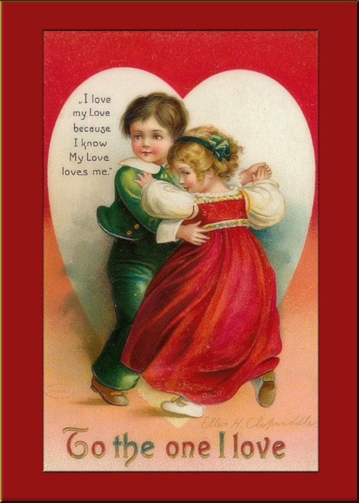 Valentine Card-Boy and Girl Dancing by Yesteryears