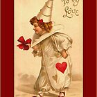 Valentine Card-Victorian Clown Child by Yesteryears