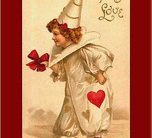 Valentine Card-Victorian Clown Child by Yesteryears