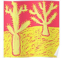 Yellow Cacti in the Desert Poster
