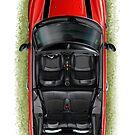 Mini Cooper Cabrio Print in Red by davidkyte