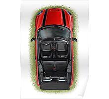Mini Cooper Cabrio Print in Red Poster