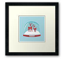 Snow-globe Couple Deer Framed Print