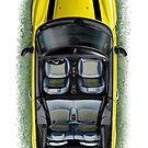 Mini Cooper Cabrio Print in Yellow by davidkyte