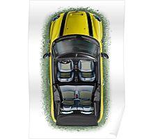Mini Cooper Cabrio Print in Yellow Poster