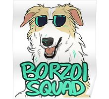 BORZOI SQUAD (WHITE AND LIGHT RED) Poster