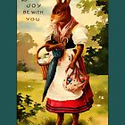 Easter Greetings-Lady Bunny with Eggs by Yesteryears