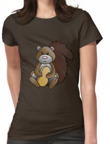Squirrel with Penut Womens Fitted T-Shirt