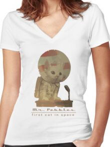 Mr. Pebbles - The first cat in space! Women's Fitted V-Neck T-Shirt