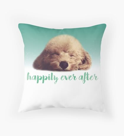 Happily every after - Poodle Throw Pillow
