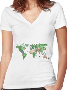 Super Mario World Map T - Shirt Women's Fitted V-Neck T-Shirt
