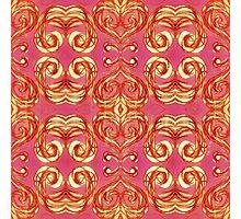 Orange pink red damask Photographic Print