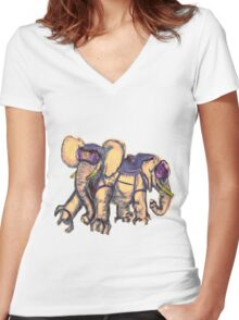 Ancient Psychic Tandem War Elephant Women's Fitted V-Neck T-Shirt
