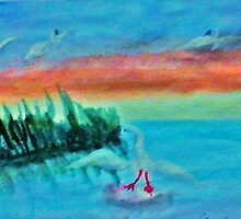 Coming in for a landing, series, watercolor by Anna  Lewis, blind artist