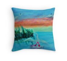Coming in for a landing, series, watercolor Throw Pillow