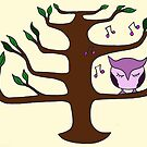 Owl Singing in a Tree by Leni Kae
