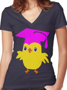 ღ°ټGorgeous Blue Eyed Nerd Chick on a Graduation Cap Clothing& Stickersټღ° Women's Fitted V-Neck T-Shirt