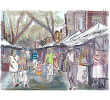 A sketch of the Sunday markets at the Rocks in Sydney Photographic Print
