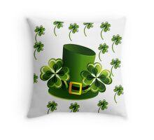 Saint Patricks Shamrock Hat Throw Pillow
