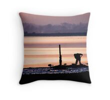 Digging for Bait at The Burrow, Rosslare.. Throw Pillow