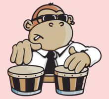 The cool monkey plays the bongos Kids Clothes