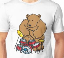 The bear plays drums Unisex T-Shirt