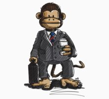 The Business Monkey drinks a coffee to go One Piece - Short Sleeve
