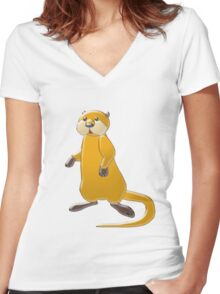 Sea Otter Women's Fitted V-Neck T-Shirt