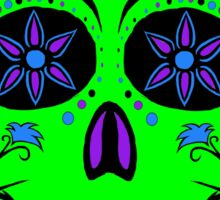 Day of the Dead  skull 1 green and purple Sticker
