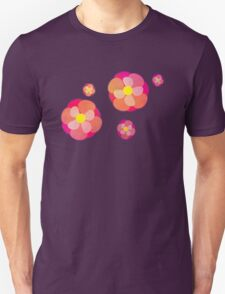 Retro-Pink Flowers T-Shirt
