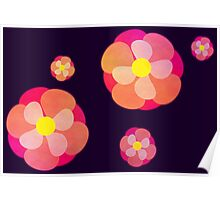 Retro-Pink Flowers Poster