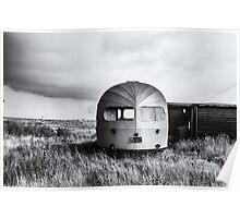 Old Winnebago left on beach Poster