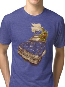 Dinosaur on a Cadillac Tri-blend T-Shirt