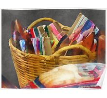 Sewing - Ribbons in Basket Poster
