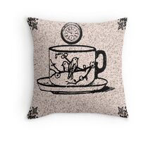 Speckled Tea Cup And Saucer With Two Love Birds Throw Pillow