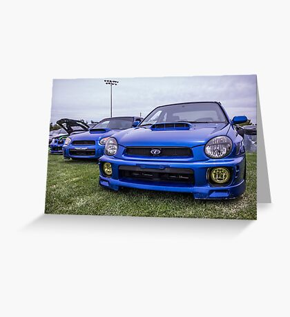 Three Generations of World Rally Blue Greeting Card