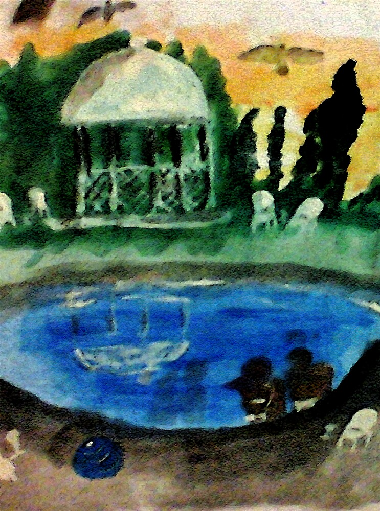 Poolside, watercolor by Anna  Lewis, blind artist