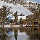 Kilnsey Crag in the snow by Rebecca Mason