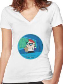 Dexter - Dexter's Laboratory (Production Cel) Women's Fitted V-Neck T-Shirt
