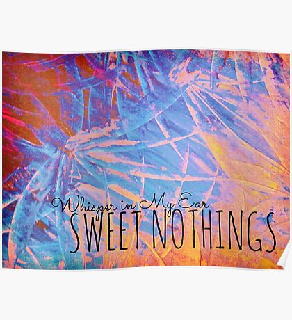 SWEET NOTHINGSBeautiful Midnight Valentine Florals, Eggplant Lilac Pink Modern Abstract Poster