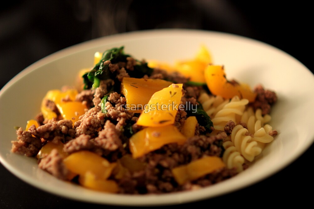 Still Life - Beef, Peppers, Spinach & Pasta 2 by rsangsterkelly