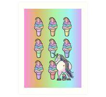 Unicorn poops rainbow soft-serve! Art Print