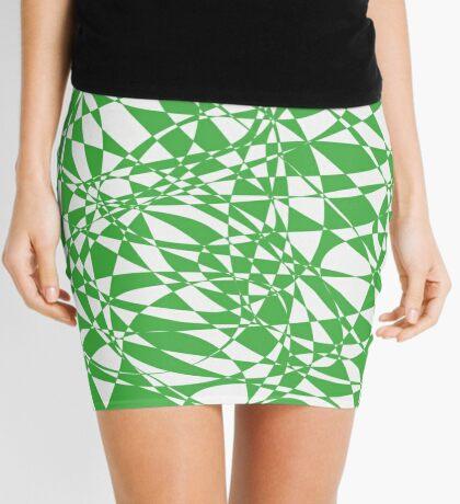 Green Abstract Pattern Mini Skirt