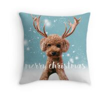Merry Christmas Poodle Throw Pillow
