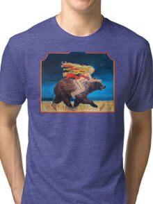 Naked Chick Riding a Bear Tri-blend T-Shirt