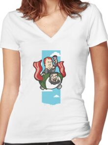 Smith And The Buffy Man On Wings of Swine Women's Fitted V-Neck T-Shirt