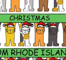 Cats in Santa hats Happy Christmas from Rhode Island. Sticker