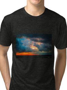 sunset through grey storm clouds  Tri-blend T-Shirt